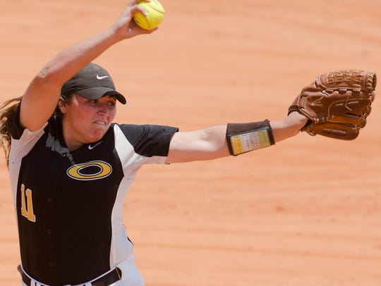 Opp's Graceanne Spears throws a pitch during the AHSAA