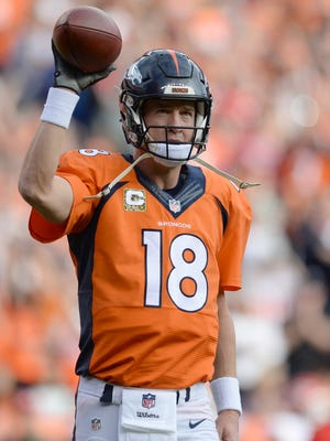 Peyton Manning after he broke Brett Favre's all-time career passing yards record.