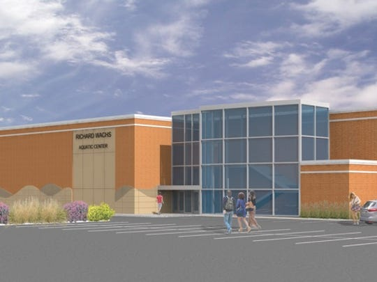 A high-resolution rendering of a proposed aquatics center for the West Lafayette Jr./Sr. High School.