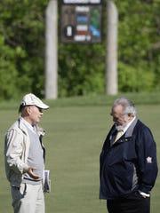 Blackwolf Run designer Pete Dye, left, and Herbert V. Kohler Jr., talk on the first tee during Media Day for the 2012 U.S. Women's Open Championship.