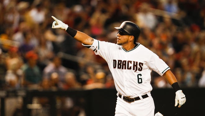 Arizona Diamondbacks' David Peralta reacts after hitting a home run in the second inning as the Arizona Diamondbacks face off against the Pittsburgh Pirates on Friday, April 22, 2016, at Chase Field in Phoenix, Ariz.