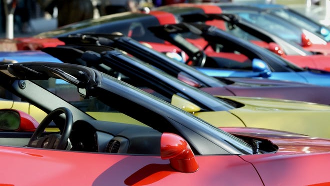 Rows of corvettes on display  downtown one year for Hot Summer Nites.