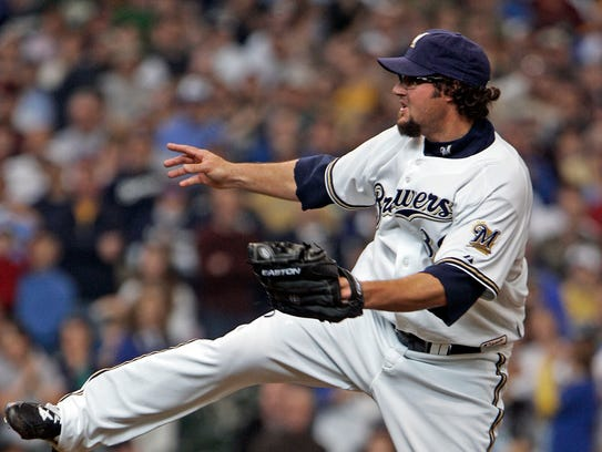 Milwaukee Brewers' Eric Gagne gets the final out to