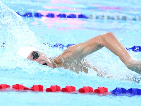 La Quinta's Spencer Lowell swims the anchor of the