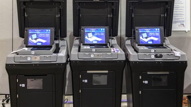 Voting machines to place your completed ballot on display during an open house at the Supervisor of Elections Service Center in Riviera Beach, Florida on November 19, 2019.