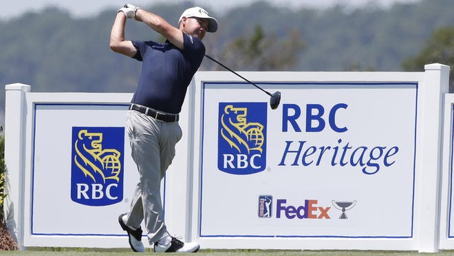 Savannah native Brian Harman plays his shot from the 18th tee during the third round of the RBC Heritage on Saturday at Harbour Town Golf Links on Hilton Head Island, S.C.