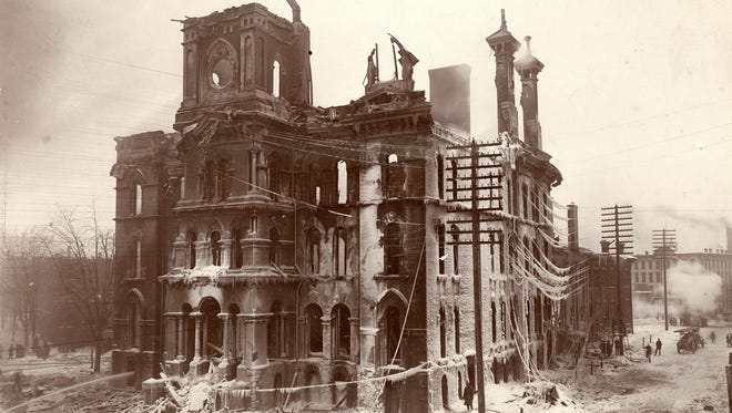 The former Michigan Capitol in Detroit lies in ruins after it was destroyed by fire Jan. 27, 1893.