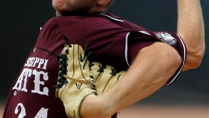 Mississippi State's Brandon Woodruff pitches in the second inning of an NCAA college baseball game against Vanderbilt during the Southeastern Conference tournament championship game in Hoover, Ala.,, May 27, 2012. (AP Photo/Dave Martin)
