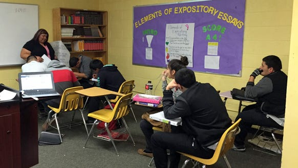 Tejas School of Choice students work on an assignment
