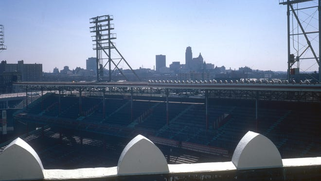 A view of the Cincinnati skyline from left field stands at Crosley Field on April 5, 1972.
