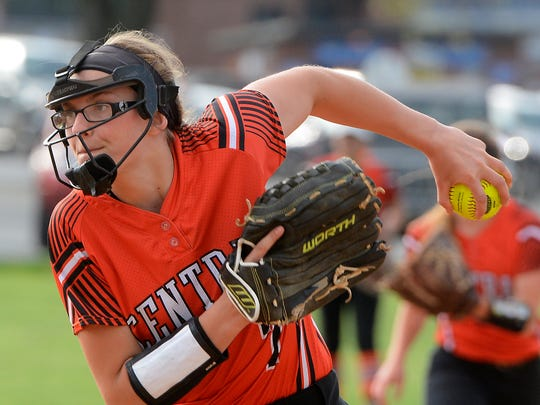 Central York High School graduate Courtney Coppersmith struck out 32 batters in 13 innings for the Harrisburg RBI team during regional in action in Washington. YORK DISPATCH FILE PHOTO
