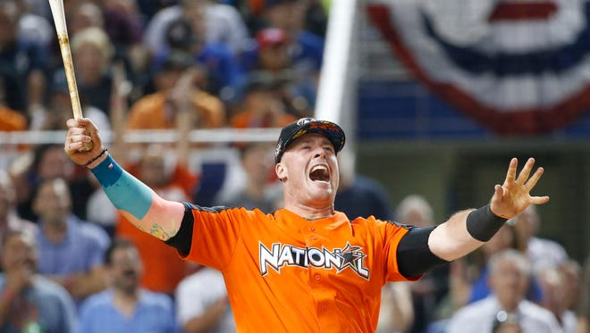 Miami Marlins' Justin Bour competes during the MLB baseball 2017 All-Star Home Run Derby in Miami. (AP Photo/Wilfredo Lee)