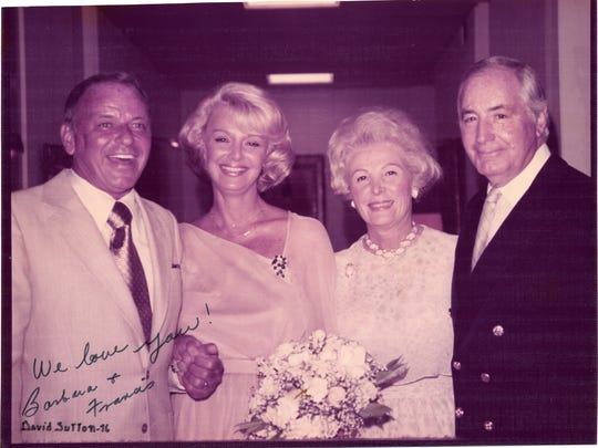 Frank and Barbara Sinatra pose with their hosts, Leonore and Walter Annenberg at their wedding at Sunnylands. in 1976.