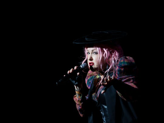 Cyndi Lauper entertains the crowd at the Louisville Palace.