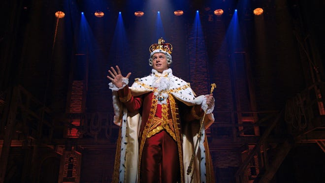 "Jonathan Groff portrays King George in a filmed version of the original Broadway production of ""Hamilton."""