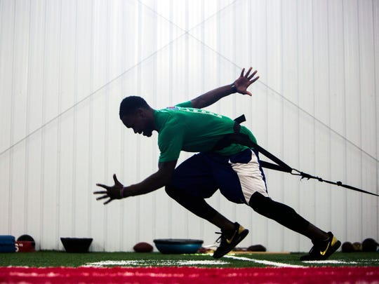 Former Clemson safety Jadar Johnson trains for the upcoming NFL Scouting Combine at TNT Sports on Monday, Feb. 20, 2017 in Williamston.