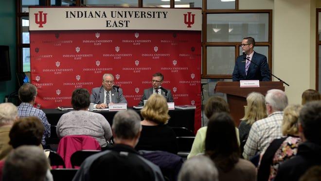 Rep. Dick Hamm (R-Richmond) and Sen. Jeff Raatz (R-Centerville) speak during a legislative forum at IU East on Friday, March 31, 2017.