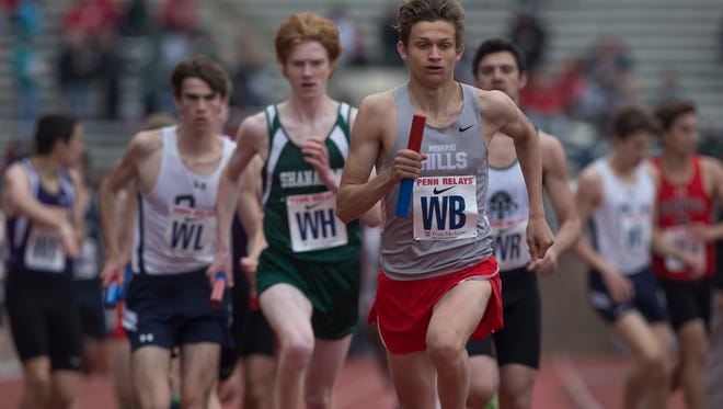Morris Hills' Jason Schweizer does the second leg of his team's 4X800 relay effort. Friday events at Penn Relays in Philadelphia Pa, on April 29, 2016.
