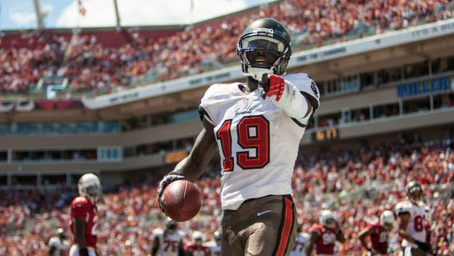 Tampa Bay Buccaneers wide receiver Mike Williams (19) reacts after scoring a touchdown during the first half of the game against the Arizona Cardinals at Raymond James Stadium.