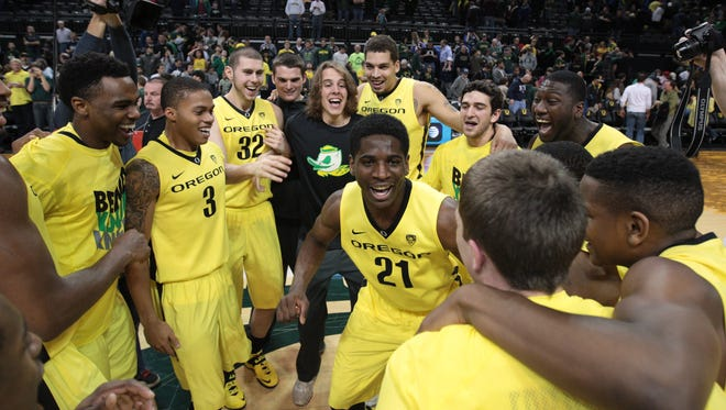 Oregon Ducks win in overtime against the Brigham Young Cougars 100-96 at Matthew Knight Arena.