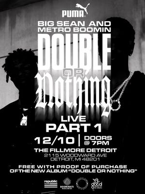 """Big Sean and Metro Boomin to perform a surprise concert to celebrate the release of """"Double or Nothing"""" on Sunday."""