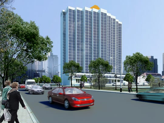 Rendering of the street view of the future remodeled Amtel Hotel.