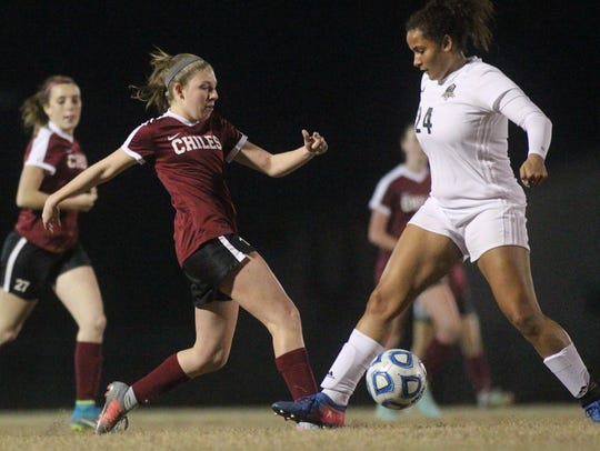 Chiles' Briley Jordan makes a pass as Lincoln beat Chiles 2-0 last year in a District 2-4A semifinal.