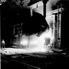 Worker at J&L steel mill, Pittsburgh, 1942.
