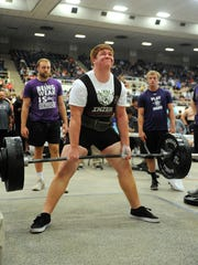 Dublin's Ethan Price completes his deadlift in the Division 3, 275 pound class of the Texas High School Powerlifting Association state meet on Saturday, March 25, 2017, at the Taylor County Coliseum.