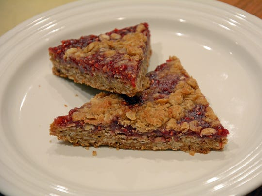 Raspberry Oatmeal Crumb Bars are a satisfying end to the meal.