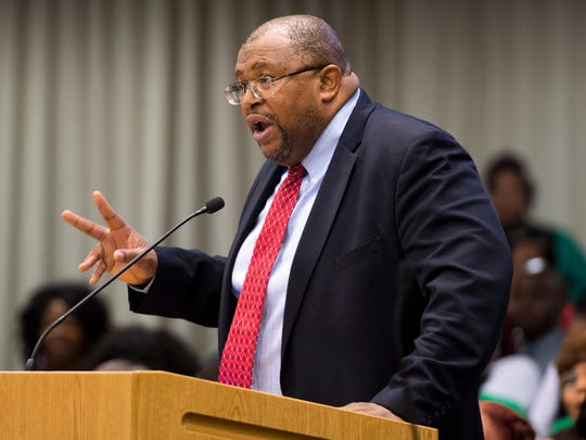 Knoxville NAACP President Rev. John Butler speaks at the Knox County School's Board of Education work session meeting at the City-County Building on Monday, April 9, 2018.