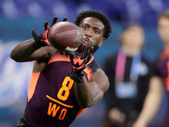 Ohio State wide receiver Parris Campbell ran a drill at the NFL football scouting combine March 2 in Indianapolis. (AP Photo/Michael Conroy)