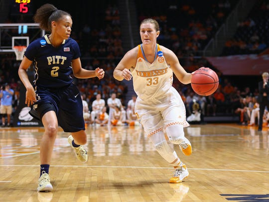 Tennessee guard Alexa Middleton, right, drives against Pittsburgh guard Aysia Bugg during their second-round NCAA Tournament game Monday.