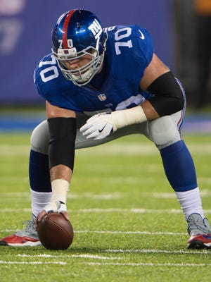 New York Giants center Weston Richburg (70) in the first half at MetLife Stadium.