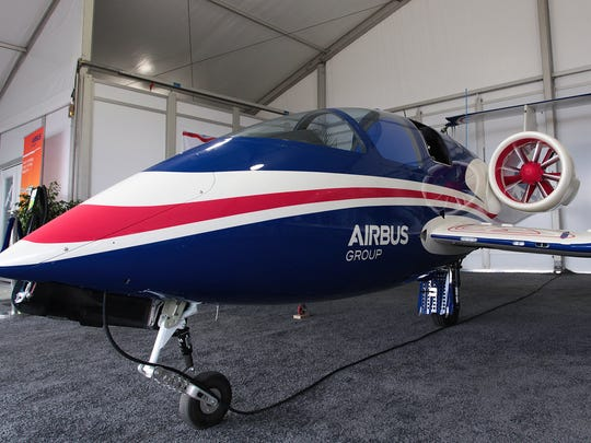 Airbus Group displays its E-Fan electric hybrid prototype plane at EAA AirVenture. Wednesday, July 27, 2016 in Oshkosh, Wis.