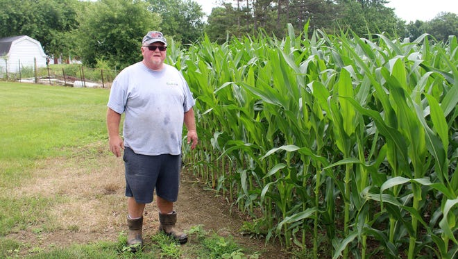 Marion farmer Rick Fogle stands next to a field of corn at his farm north of Big Island Township. He said that possible tariffs may affect the prices of his other crash crop, soybeans.
