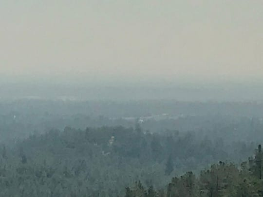 Smoke blankets the Redding area on July 25, 2018 as
