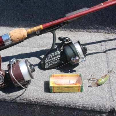 Fishing reels, rods and lures made in the 1960s and