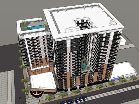 A rendering of the apartment building proposed for