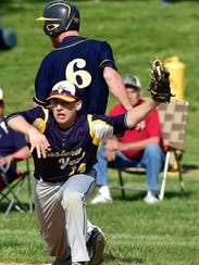 GreencastleAntrim's Austin Branchman (6) beats a throw