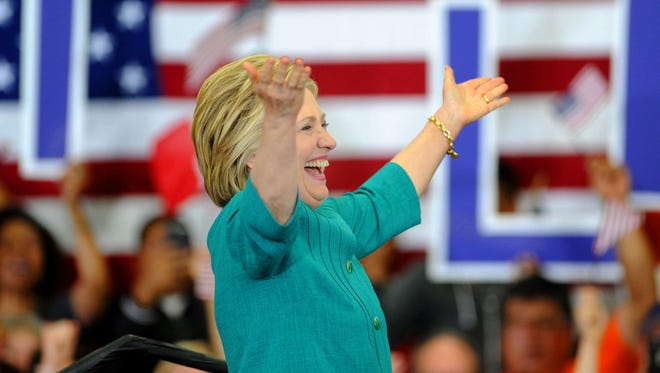 Hillary Clinton, Democratic presidential candidate fires up the crowd at Hueneme High School.
