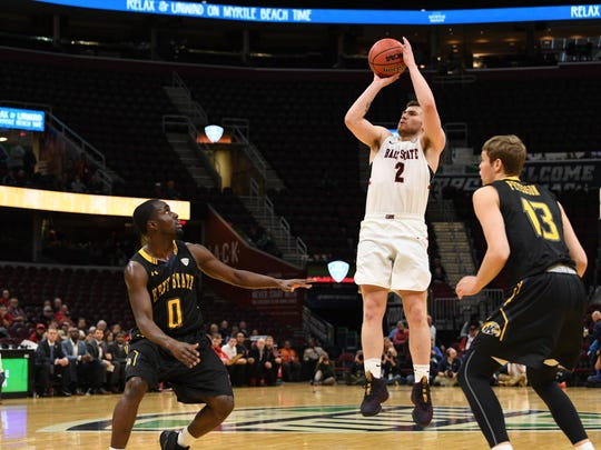 Ball State's Tayler Persons shoots against Kent State