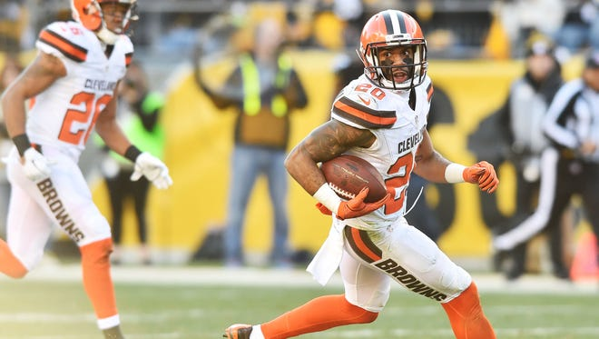 Delcastle's Briean Boddy-Calhoun, shown returning an interception against the Steelers on Jan. 1, 2017, is beginning his third season with the Browns after going undrafted in 2016.