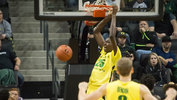 Nov 16, 2015; Eugene, OR, USA; Oregon Ducks forward Chris Boucher (25) dunks the basketball in a game against Baylor during the second half at Matthew Knight Arena. The Ducks won 74-67. Mandatory Credit: Troy Wayrynen-USA TODAY Sports