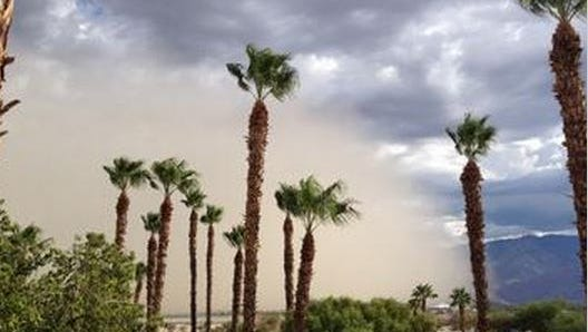 A dust storm moves through Palm Springs on Sept. 6, 2014.