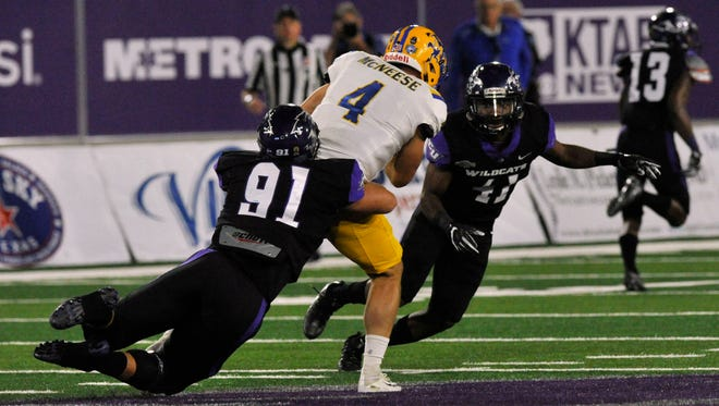 Wildcat defensive tackle Cole Burgess sacks McNeese State University quarterback James Tabary during Abilene Christian University's game against the Cowboys Saturday Oct. 7, 2017. McNeese won, 13-7.