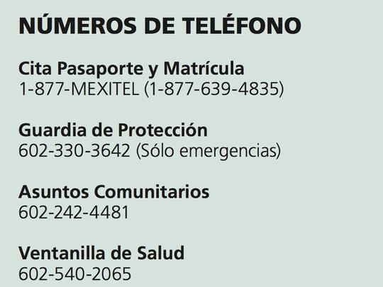 Números de teléfono del Consulado General de México en Phoenix.