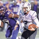Junior P.J. Blazejowski (7) is competing with senior Reese Hannon for the Furman starting quarterback job.