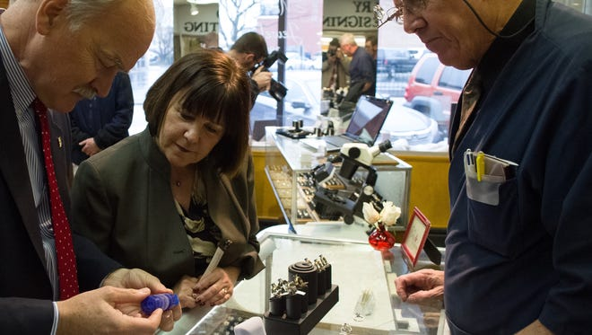 Murray's Jewelers was selected as an official Bicentennial Marketplace seller for Indiana's year-long celebration of statehood. First Lady Karen Pence visited the jewelry shop Wednesday, Feb. 24, 2016, to recognize the shop for its commitment to the state's celebrations.
