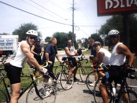 Taking a breather are Steve Howell (from left), Glenn Kemske, Eric August, John August, John Foster, Matt Ambler and Bobby LaFazia.